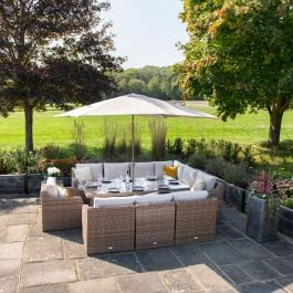 Luxury 10 Seater Garden Sofa Set with Rectangle Table in Natural Rattan by Primrose Living