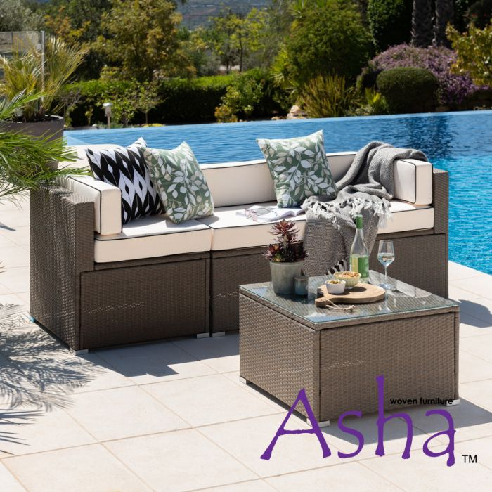 Sherborne 4 Piece Rattan Conservatory and Garden Sofa Set in Mixed Brown - by Asha™