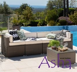 Sherborne 5 Piece Rattan Conservatory and Garden Sofa Set in Mixed Brown - by Asha™