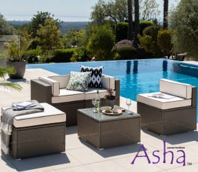 Sherborne 2 Seater Garden Sofa and Single Chair With 2x Table/Footstools in Mixed Brown - by Asha™