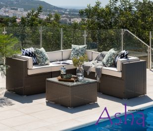 Sherborne 6 Seater Garden Corner Sofa Set With Table/Footstool in Mixed Brown - by Asha™