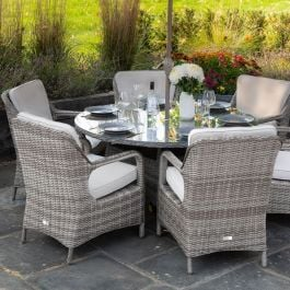 Luxury 6 Seater Circle Garden Dining Set in Stone Rattan by Primrose Living