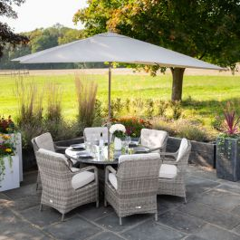 Luxury 6 Seater Circular Garden Dining Set in Stone Rattan by Primrose Living