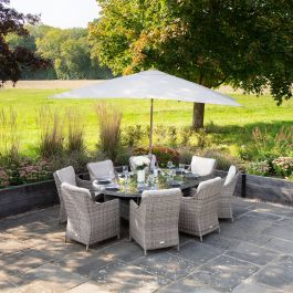 Luxury 8 Seater Oval Garden Dining Set in Stone Rattan by Primrose Living