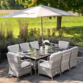 Luxury 8 Seater Rectangular Garden Dining Set in Stone Rattan by Primrose Living