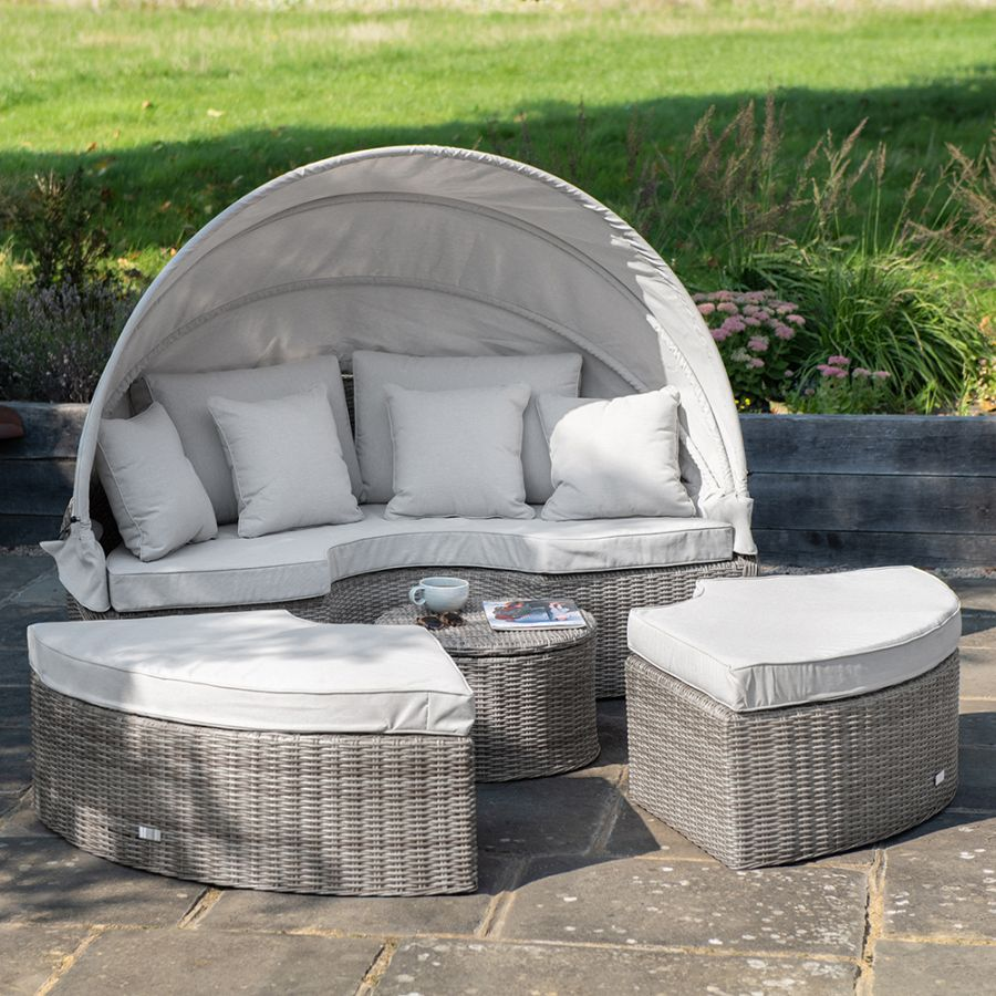 Luxury Modular Daybed with Retractable Canopy in Stone Rattan by Primrose Living