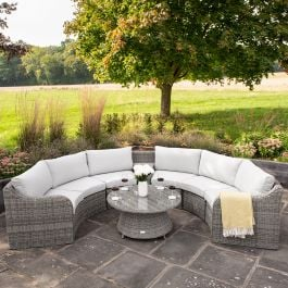 Luxury 6 Seater Garden Sofa Set with Storage Basket and Coffee Table in Stone Rattan by Primrose Living