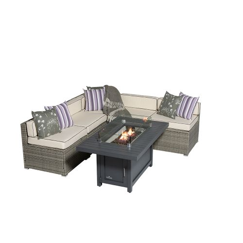 Sherborne 5 Seater Garden Sofa Set With Rectangular Patioflame Table - Mixed Grey - by Asha™