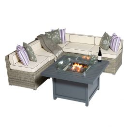 Sherborne 5 Seater Garden Sofa Set With Square Patioflame Table - Mixed Grey - by Asha™
