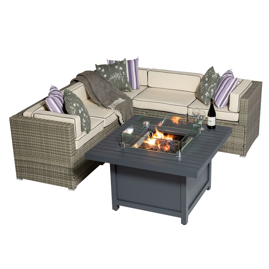 Sherborne 5 Seater Garden Corner Sofa Set With Square Patioflame Table And Windscreen In Mixed Grey - by Asha™