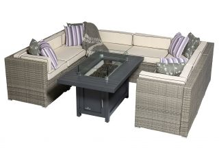 Sherborne 8 Seater Garden Sofa Set With Rectangular Patioflame Table - Mixed Grey - by Asha™