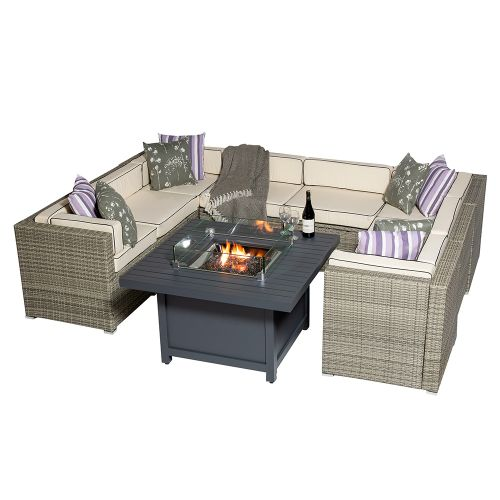 Sherborne 8 Seater Garden Sofa Set With Square Patioflame Table - Mixed Grey - by Asha™