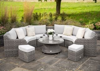 Luxury 8 Seater Garden Sofa Set with Storage Basket and Coffee Table in Stone Rattan by Primrose Living