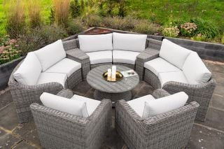 Luxury 8 Seater Garden Sofa Set with Storage Baskets and Coffee Table in Stone Rattan by Primrose Living