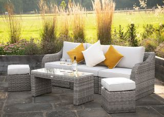 Luxury 5 Seater Garden Sofa Set with Coffee Table and Footstools in Stone Rattan by Primrose Living