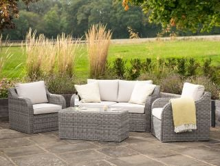 Luxury 4 Seater Garden Sofa Set with Coffee Table in Stone Rattan by Primrose Living