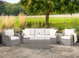 Luxury 5 Seater Garden Sofa Set with Coffee Table in Stone Rattan by Primrose Living