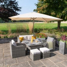 Luxury 6 Seater Garden Sofa Set with Square Rising Table and Parasol in Stone Rattan by Primrose Living