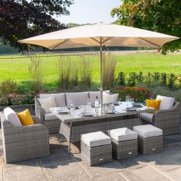 Luxury 8 Seater Garden Sofa Set with Rectangular Table and Parasol in Stone Rattan by Primrose Living