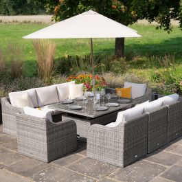 Luxury 8 Seater Garden Sofa Set with Rising Table and Parasol in Stone Rattan by Primrose Living