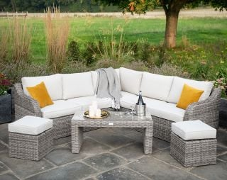 Luxury 7 Seater Garden Sofa Set with Coffee Table and Footstools in Stone Rattan by Primrose Living