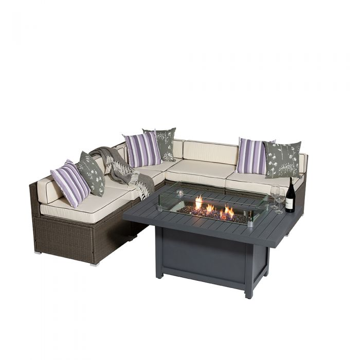 Sherborne 5 Seater Garden Sofa Set With Rectangular Patioflame Table - Mixed Brown - by Asha™