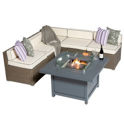 Sherborne 5 Seater Garden Sofa Set With Square Patioflame Table - Mixed Brown - by Asha™
