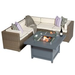 Sherborne 5 Seater Garden Corner Sofa Set With Square Patioflame Table And Windscreen In Mixed Brown - by Asha™