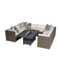 Sherborne 8 Seater Garden Sofa Set With Rectangular Patioflame Table - Mixed Brown - by Asha™