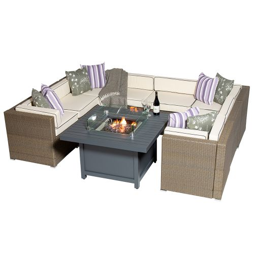 Sherborne 8 Seater Garden Sofa Set With Square Patioflame Table - Mixed Brown - by Asha™