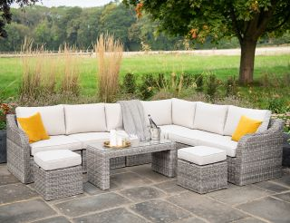 Luxury 8 Seater Garden Sofa Set with Coffee Table and Footstools in Stone Rattan by Primrose Living