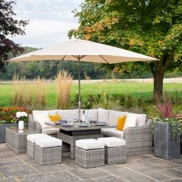 Luxury 9 Seater Garden Sofa Set with Square Rising Table and Footstools in Stone Rattan by Primrose Living