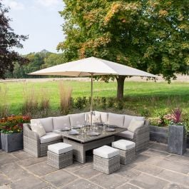 Luxury 9 Seater Garden Sofa Set with Rectangle Rising Table and Footstools in Stone Rattan by Primrose Living