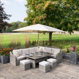 Luxury 9 Seater Garden Sofa Set with Rectangular Rising Table and Footstools in Stone Rattan by Primrose Living