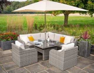 Luxury 7 Seater Garden Sofa Set with Square Rising Table in Stone Rattan by Primrose Living