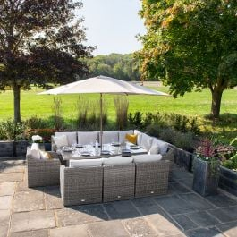 Luxury 10 Seater Garden Sofa Set with Rectangular Table in Stone Rattan by Primrose Living