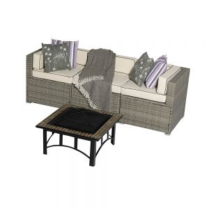 Sherborne 4 Piece Rattan Garden Sofa Set With Mosaic Fire Pit Table in Mixed Grey - by Asha™