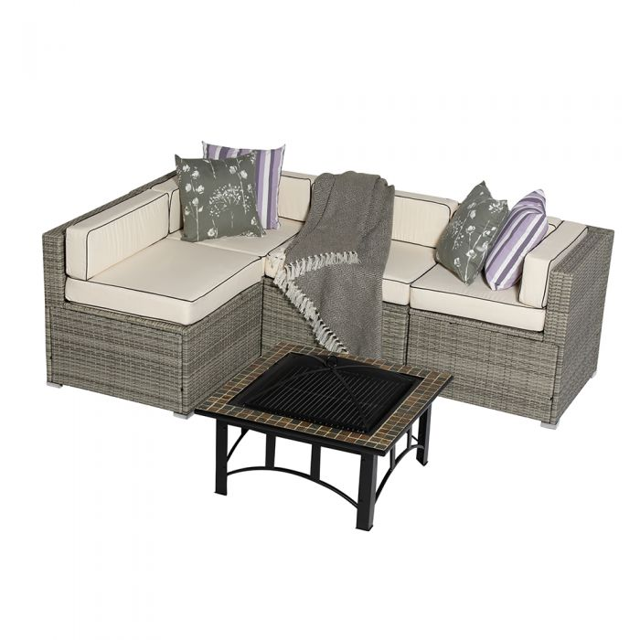 Sherborne 5 Piece Rattan Garden Sofa Set With Mosaic Fire Pit Table in Mixed Grey - by Asha™