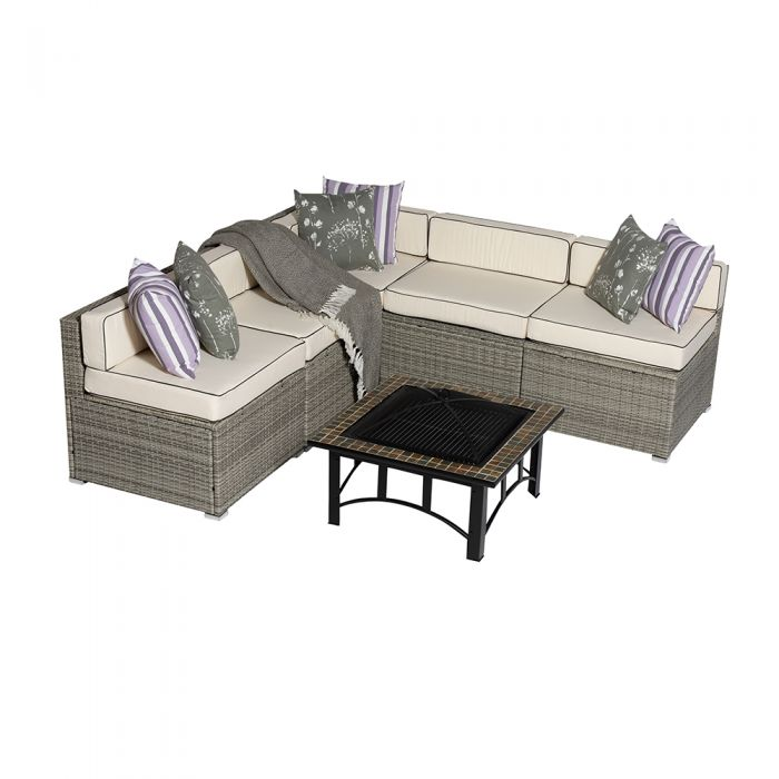 Sherborne 5 Seater Garden Corner Sofa Set With Mosaic Fire Pit Table in Mixed Grey - by Asha™