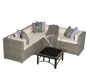 Sherborne 5 Seater Garden Corner Sofa Set With Mosaic Fire Pit Table in Mixed Brown - by Asha™
