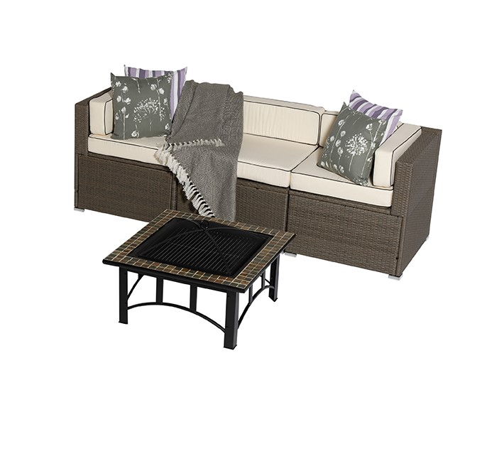 Sherborne 4 Piece Rattan Garden Sofa Set With Mosaic Fire Pit Table in Mixed Brown - by Asha™