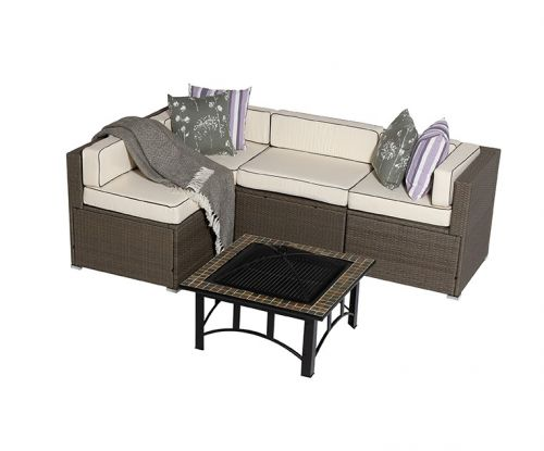 Sherborne 5 Piece Rattan Garden Sofa Set With Mosaic Fire Pit Table in Mixed Brown - by Asha™