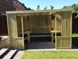 Enclosed Wooden Garden Arbour