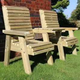 Wooden Couple Bistro Seating Set