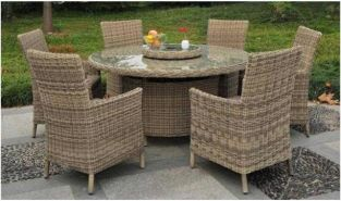 Modena 150cm Round Glass Top Rattan Table with Lazy Susan