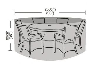 Round 6-8 Seater Furniture Set Cover 250cm x 89cm - Super Tough - Dark Green