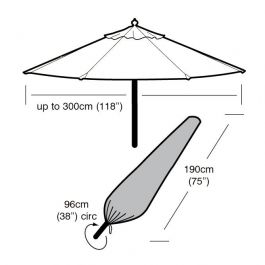 Large Parasol Cover 96cm x 190cm - Super Tough - Dark Green