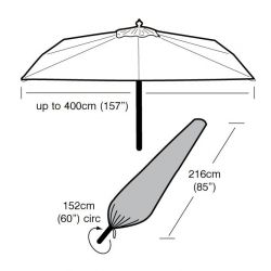 Extra Large Parasol Cover 152cm x 216cm - Super Tough - Dark Green