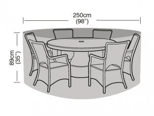 Round 6-8 Seater Furniture Set Cover 250cm x 89cm - Premium - Black