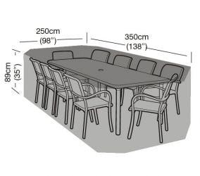 Rectangular 10 Seater Furniture Set Cover 350cm x 89cm - Premium - Black